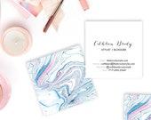 Indigo + Pink Boho II Marble Calling Cards   Business Cards   Blogger Cards   Set (50)