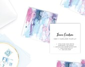 Watercolor Abstract Cards   Business Cards   Blogger Cards   Set (50)