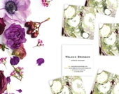 Chartreuse Green and Aubergine Marble Calling Cards   Business Cards   Blogger Cards   Set (50)