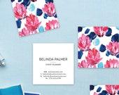 Blue + Pink Floral Calling Cards   Business Cards   Blogger Cards   Set (50)