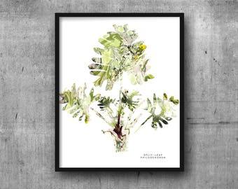 SPLIT LEAF PHILODENDRON Art Print 8x10 Marble Botanical / Plants / Foliage