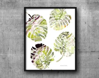 MONSTERA Art Print 8x10 Marble Botanical / Plants / Foliage