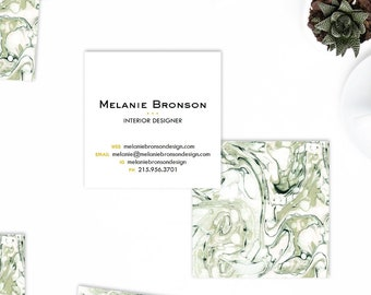 NEW! Sage Green Marble + Blush Calling Cards | Business Cards | Blogger Cards | Set (50)