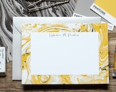 Yellow Gold Marble Custom Stationery / Flat Notes / Set (10) / A7 Size