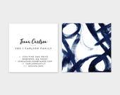 Navy Graffiti Artwork Calling Cards   Business Cards   Blogger Cards   Set (50)
