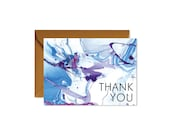 THANK YOU Aqua + Ultra Violet Marble Art Notecards + Envelopes Pack   Boxed Set (8)   Abstract   Modern