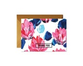 THANK YOU Floral Pink and Blue Notecards + Envelopes Pack   Boxed Set (8)   Handpainted