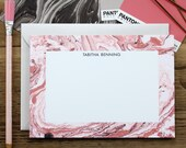 Blush Pink and Rose Marble Custom Stationery / Flat Notes / Set (10) / A7 Size
