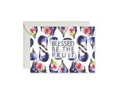BLESSED Be THE FRUIT Fig Watercolor Notecards + Envelopes Pack   Boxed Set (8)