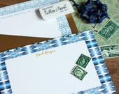 Gift for Her Custom Luxe Stationery / Flat Notes / Shibori  Pattern Indigo - Set (10) / A7 Size / Personalized Stationery