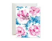 WELCOME LITTLE ONE Pink and Blue Floral Greeting Card  /Handpainted / New Baby / Adoption - Single Card