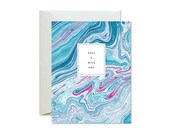 HAVE a WILD ONE Turquoise Teal Hot Pink Marble Greeting Card / Birthday / Wedding / Celebration - Single Card