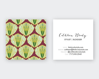Green Artichoke Patterned Calling Cards/ Business Cards/ set (50)