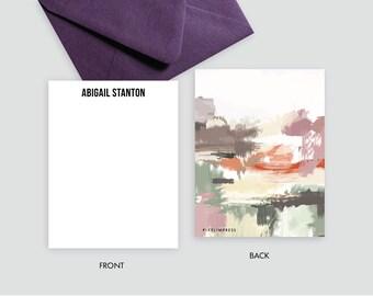 Desert IV Plums Tans Greys Abstract Custom Stationery   Flat Notes + Envelopes
