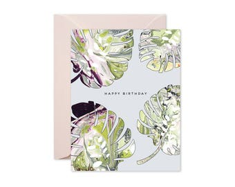 HAPPY BIRTHDAY Monstera Leaves Greeting Card / Birthday / Green and Burgundy Marble