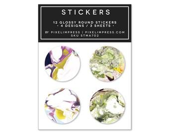 Designer Sticker Set II- (12) Stickers | Marble | Green | Ultra Violet