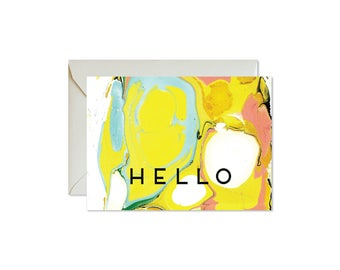 HELLO Psychedelic Aqua Coral Marble Notecards + Envelopes Pack | Boxed Set (8) | Abstract | Hippi