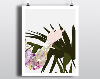 Art Print Hand with Plant 8x10