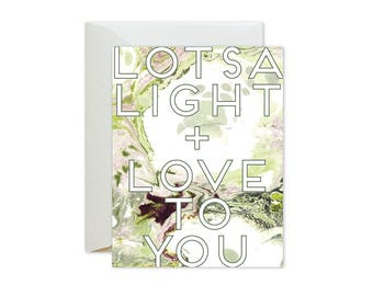 LOTSA LIGHT + LOVE To You Green Burgundy Marble Greeting Card / Birthday / Sympathy / Encouragement