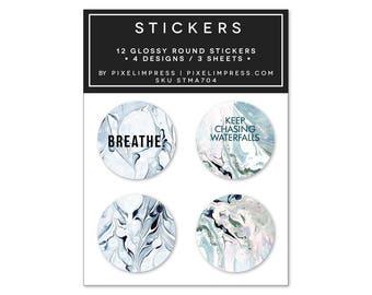 Designer Sticker Set IV- (12) Stickers | Marble | Indigo | Aqua | Breathe | Waterfalls