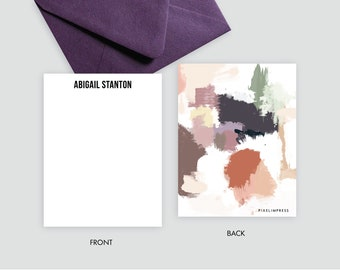 Desert I Plums Corals Abstract Custom Stationery   Flat Notes + Envelopes