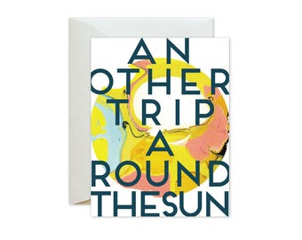ANOTHER TRIP Around the SUN Psychedelic Marble Greeting Card / Birthday