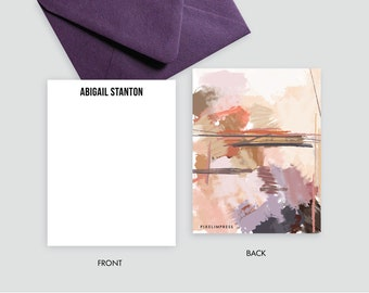 Desert II Plums Tans Abstract Custom Stationery   Flat Notes + Envelopes