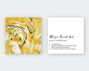 Gold Blush Marble Calling Cards   Business Cards   Blogger Cards   Set (50)