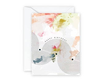 HAPPY BIRTHDAY Mod Abstract Greeting Card