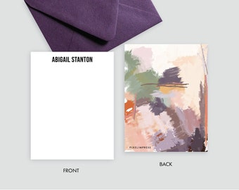 Desert III Plums Peaches Greens Abstract Custom Stationery   Flat Notes + Envelopes