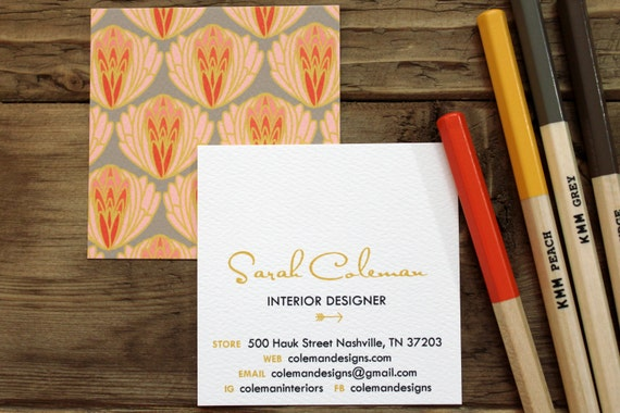 Calling Cards Business Cards Mom Cards Articoke Pattern Etsy