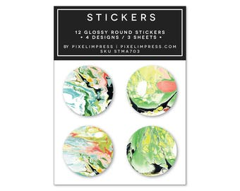Designer Sticker Set III- (12) Stickers | Marble | Chartreuse Coral