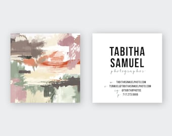 Muted Desert IV Abstract Plums Tans Greens Calling Cards   Business Cards   Blogger Cards   Set (50)