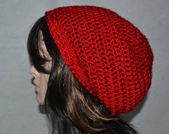Woman Slouchy Beanie, Rich Red Slouchy Hat, Slouch Tam, Slouchy Hat, Baggy Beret, Ladies, Teens, Cherry Red