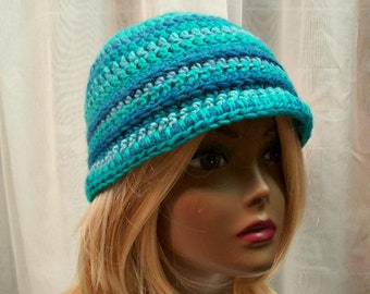115cbecec0da21 Women's Cloche Hat, Crocheted Ladies Hat Teal, Aqua, Blue, 1920's Style  Practical Trendy Comfy Crochet Ladies Cloche, City or Country