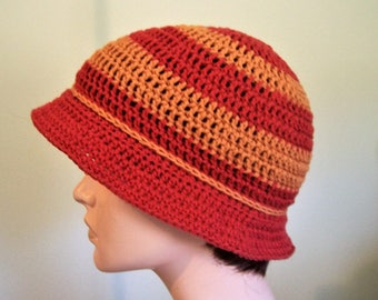 Ladies Cloche Hat Cotton Blend Yarn, Rusty Orange Shades, Lightweight Sun Hat, Ladies Hat, Woman's Cloche 1920's Flapper Style, Gift