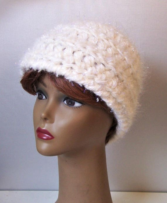 Crocheted Snowflake Beanie Wool Blend White Ladies Hat Snow  9a29018f473