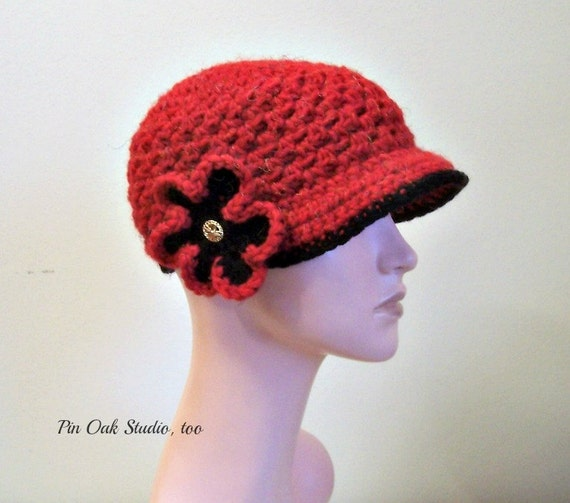 db4dcb467e Ladies Newsboy Hat Beanie, Cozy Crochet Women's Hat, Convertible, 2 Looks  Flower Clip, Soft Chunky, Warm, Ladies Hat, Gift for Her,