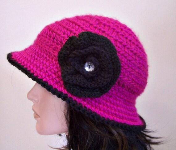 75794572b42 Crochet Cloche Womens Hat Convertible 2 Looks Hot Pink Black