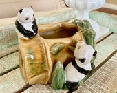 Vintage Lucky Bamboo and Panda Pottery Ceramic Planter Succulent Bonsai TYCAALAK