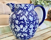 Vintage Victoria Ironstone Blue and White Floral Pitcher Calico Blue Asian Inspired TYCAALAK