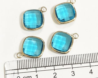 4 glass faceted Rhombus pendant with gold frame, Blue Zircon glass drops 17x14mm, framed glass with brass setting
