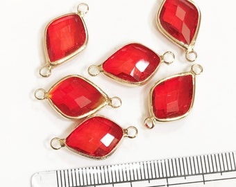 6 pcs faceted leaf shape glass with  brass setting 14.5x13mm orange red , glass connector 1/1 loop gold tone brass setting