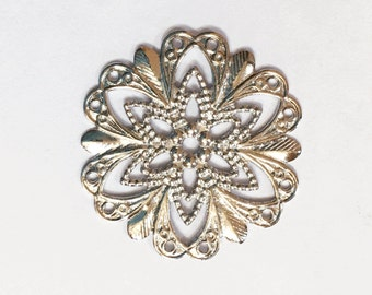 Great for resin cabochon flower, silver filigree silver connector silver Links,silver base setting Bulk..200 pcs 18 mm filigree pendants