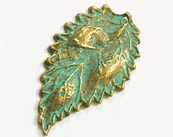 6 pcs of Antique Brass long leaf pendant 16x27mm, bluing leaf pendant, Verdigris Patina
