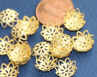 12x2MM Floral Bead Cap Antique Silver Tone Zinc Alloy 30 Pcs Bulk Lot Options 62986-2344