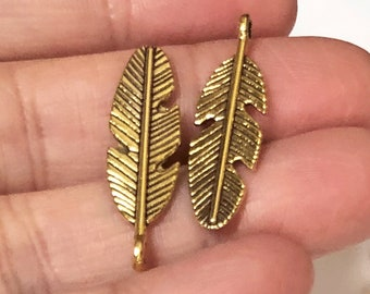 5 gold or antique gold feather charms 28mm
