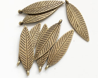 100 Gunmetal Plated Brass Feather Charms 18x4mm Drops