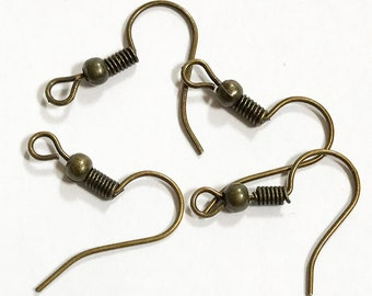 200pcs Wholesale DIY Earring Hook Coil Ear Wire For Jewelry Making 22x11mm