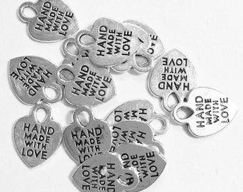 Double Sided Charm Made With Love Love Pendant 1 Heart Charm Antique Silver Tone